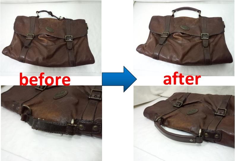 FOSSIL  メンズバッグの持ち手交換修理事例
