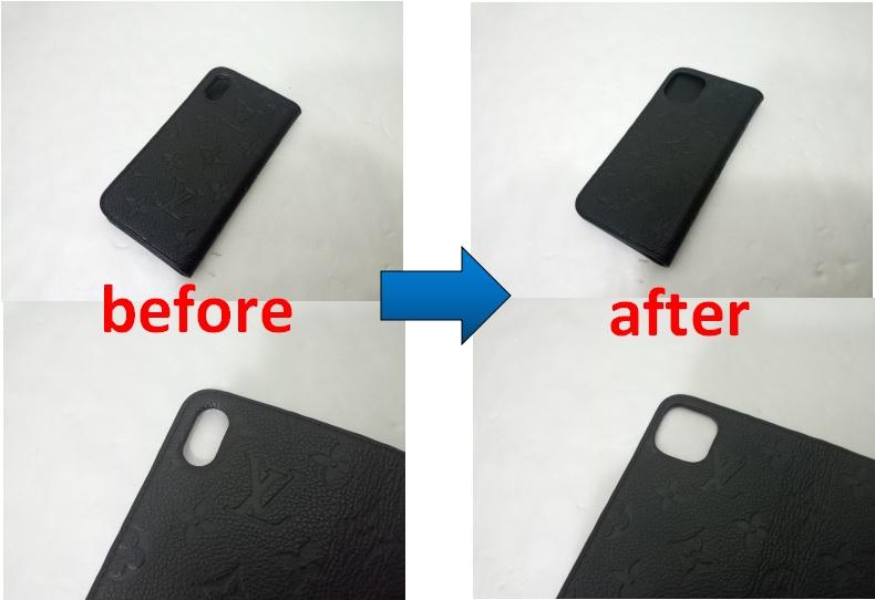 ルイヴィトン iphoneケースのカメラ窓穴 12Proへの加工事例