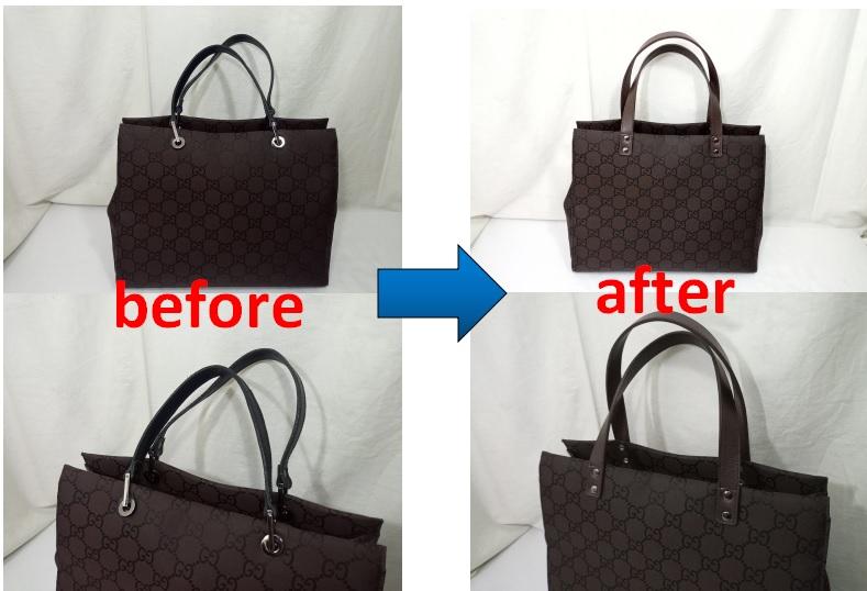 GUCCI  グッチバッグの持ち手交換修理事例