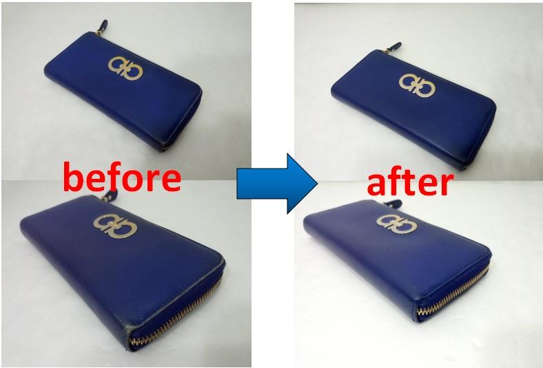 フェラガモ 財布のスレ傷補修染め直しの修理事例