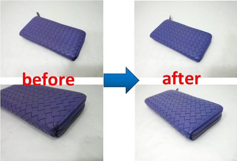ボッテガ・ヴェネタ 財布のフチ周り補修と色直し修理事例