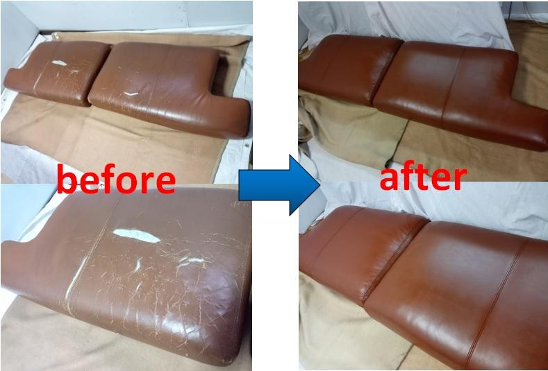 ソファ 座面クッションの破れた面だけ張替えの修理事例